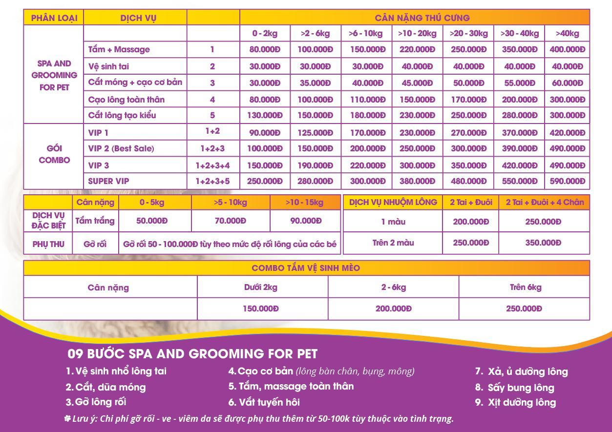 Bảng dịch vụ Spa Chó mèo Pet Nha Trang