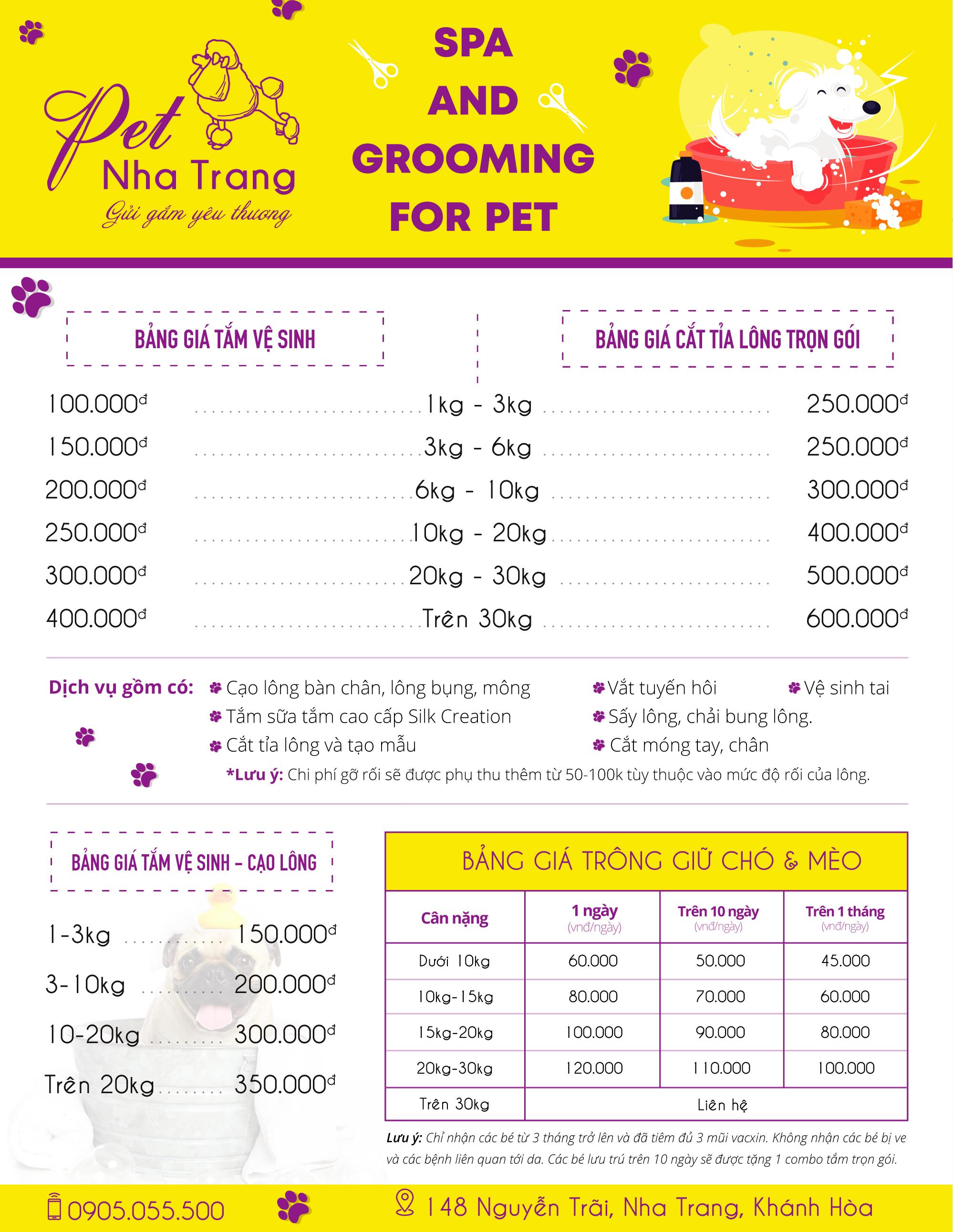 Bảng giá dịch vụ trông giữ khách sạn chó mèo Pet Nha Trang