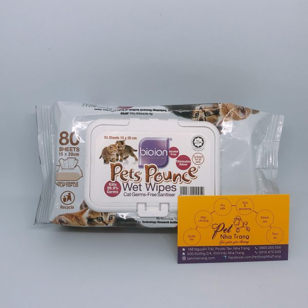 Khăn giấy ướt diệt khuẩn khử mùi Pets Pounce Pet Nha Trang
