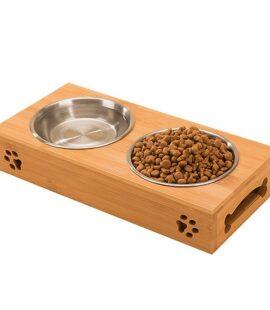 Khay Gỗ Cao Cấp Đựng Thức Ăn Chó Mèo Pet Nha Trang
